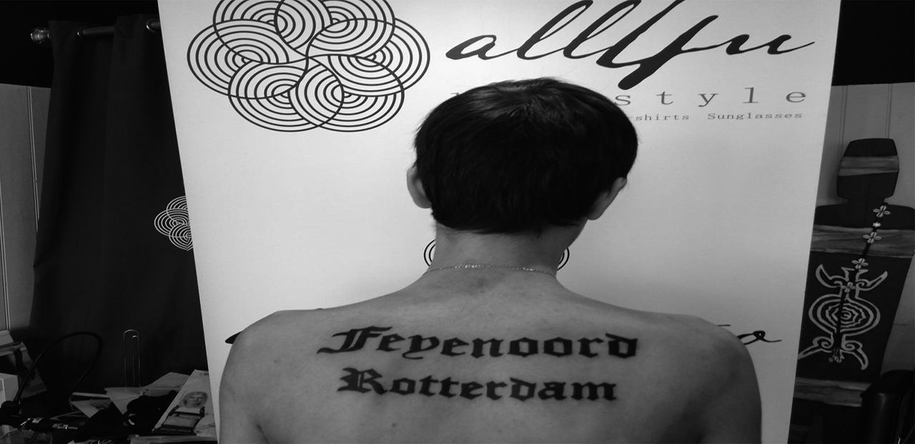 Feyenoord Rotterdam lettering tattoo
